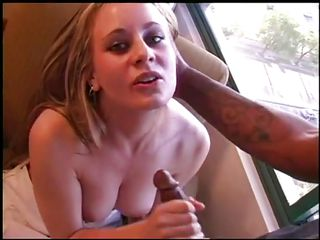 White or black, it doesn't matter she's a good girl and not only does her job cleaning the house, she gives a great handjob too. The slutty blonde with big soft boobs has her cleaning products and her rubber gloves. She starts in the bathroom where the first dick awaits and then continues in the rest of the house