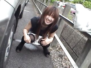 Dirty asian slut thinks pissing on the sidewalk is funny. Well japan is very civilize country and we don't tolerate something like that here. She needs a hard punishment and that pussy of hers deserves a lesson to remember. What do you think will happen to her, will she keep that pretty smile on her face?