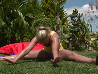 Watch this blonde babe as she works out her sexy body. After a few exercises she takes off her clothes and reveals that sexy body, this babe has long sexy legs, a cute ass, small sexy tits and long gorgeous legs. She is showing us what she has and makes our cocks hard.