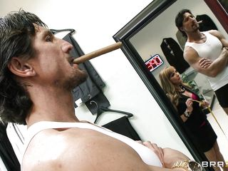 Tommy Gunn was at the dress maker's. And one hot milf Shayla Leveaux was taking the measures of his pants. Seeing this hot milf Gunn's got a boner and looked like Shayla was amused to see it. Soon she grab Tommy's dick and gave it nice handjob and licks! You know what coming next!