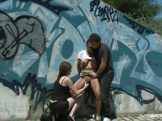 Watch how this brunette chick Yoha is getting fucked in public. By the side of a quiet road, James Dean and her bitch grabbed and humiliate her at will. Watch them finger her twat and make her giving blowjob. Later, James start fucking the hell out of her from behind as the other slut's enjoying the scene!