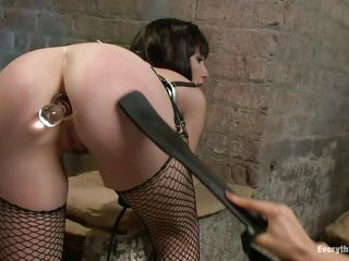 Do you enjoy seeing such a beautiful butt filled with an anal plug and spanked by another sexy brunette? These whores are giving us quite a show and the punished one, with stockings seems to enjoy it a lot. They know that we are watching each and every move so these brunettes are giving their best in what they do.