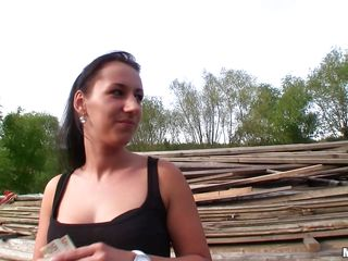 This naughty milf has no problem sucking cock outdoors. She takes the money this guy is giving for a blowjob and starts sucking that big dick with pleasure, stuffing her pretty mouth with it. She needs to work hard for that cash and the guy won't let her leave until his satisfied with her service. Nice isn't it?