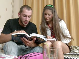 Teens these days are studying hard but sometimes they need a break so what's better to relax then a good hard fuck. Watch Alex and Alicia as the fuck like crazy, the guy takes off her white panties and licks that shaved pussy then fingers her anus until she takes her turn, sucking his hard cock like a slut. Will he give it to her from behind and cum on that sexy ass and hot legs?