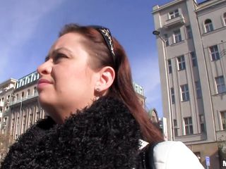 This redhead bitch is walking on the street while she talking with a guy. The guy takes her to his apartment and the slut takes off her blouse and bra showing a pair of big breasts with strengthened nipples. She now start to make a nice handjob to this male who want to fuck her between her tits.