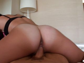 Busty brunette with sexy big fuckable ass getting rammed in her tight little pussy by a hard cock .Watch her beautiful ass moving around pleasuring herself. She looks like she could do this all day long.In the end her shaved pussy gets it realtime. She moans sexy as the penis is penetrating her .