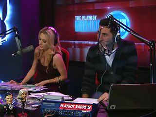 When this blonde walked in to the radio station she would have had some idea that is going to happen there after all she was going on air in a reality show and she did not seemed to be surprised when she had to remove her clothe to show what she has got hidden under her clothes for interviewers.