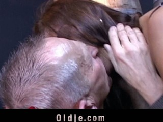 Candy Cat is playing take action with the oldman when suddenly that babe climbs up on the table and jumps on him full of craving. This Babe wants smth more thrilling: his old dick unfathomable in her cunt in doggy-style
