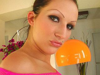 A cute brunette become angry oils up and widens her pink bawdy cleft lips. This Babe stuffs some fruits and vegetables in her snatch and squirts some milk from her wet crack after an squirting.