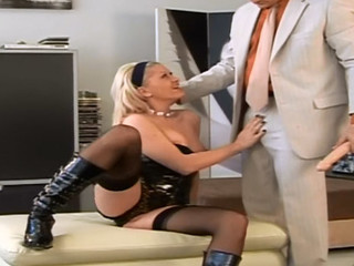 Nasty blond in black pissing and getting fucked