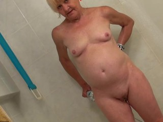 Old and juvenile woman masturbating and engulfing dick