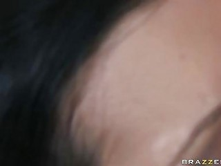 Sensual dark haired pornstar with large tits does deep throat