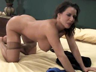 Busty milf solo tease in hot pantyhose