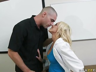 Blonde With Natural Tits Breanne Benson Fucking With Her Uniform On
