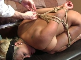 Sexy blonde acquires bounded and abused on her arse and pussy