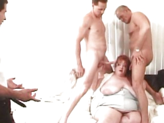Fat redhead gets knob load