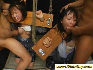 Asian slaves in the stocks get their throats fucked roughly