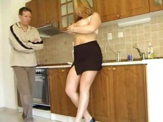 Busty blonde Zuzanna in her kitchen sucks and bends over for fuck