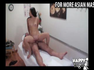 Asian masseuse gives a massage to a fat guy then rides his cock