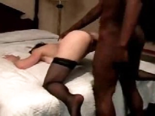 White wife in stockings goes black