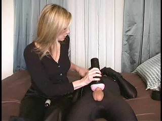 Guy in spandex cums for his mistress